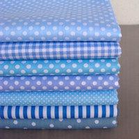 DIY Craft Base Cloth,40cm*50cm 7pcs Blue Series Polka Dot/Stripe/Check Cotton Fabric for Patchwork,Sewing,Quilt,Tilda Doll Cloth
