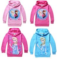 1PCS,Frozen Elsa and Anna sweater 100% Cotton Children Hoodies for Girls Cartoon Cute Sweatshirts Clothing Kids baby hoody free