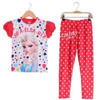 Wholesale 8-12 girls fall frozen children clothing sets kids pajama sets,short sleeve toddler boys sleepwear  F120-10-22