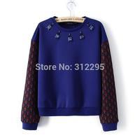 Freeship 4LY95 Classic 2014 New Women Sweatshirts Long Sleeve Winter Blue Print Brand Female Sweatshirts Pullovers Hoodies