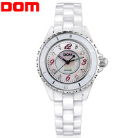 DOM sapphire crystal Rhinestone watch water resistant 200meters luxury Ceramic Women dress watch