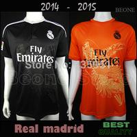 TOP Quality A+++ 2015 Real Madrid Dragon Black / Orange 14 15 Soccer jerseys camisetas de futbol Can Customize /Free shipping