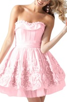 Sunvary Pink Strapless Mini Hand Made Flower Zippper up Custom Made Formal Taffeta Tulle Homecoming Dresses Cocktail Ball Gowns