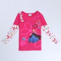 frozen clothes children girls t shirts nova brand kids wear fashion spring/autumn long sleeve t shirts for baby girls F5436Y