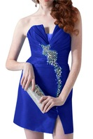 Strapless Royal Blue Sexy Front Slit Rhinestone Short  Open Back Taffeta Cocktail Dresses Autumn Dresses