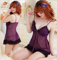 Quality ! lace transparent women's plus size uniform nightgown set female lingerie