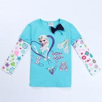 nova brand kids clothing girls t shirt frozen clothes children wear spring/autumn casual long sleeve t shirt for girls F5410Y