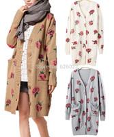 2014 NEW Women's Celebrity Style Vintage ROSE Flower Print Knit Long Cardigan Cape Sweater Knitwear Jacket Outerwear Tops