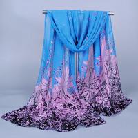 New 2014  Fashion  Brand Chiffion Dandelion Flower Printed Scarves Womens Silk  Foulard Long Scarf  Hot Sale