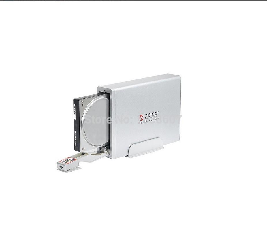 3.5'' External Hard Disk Drive Enclosure Case USB 2.0 e-SATA HDD SATA / Unlimited / Aluminum Silvery Style(China (Mainland))