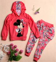 2015 hot spring/autumn sport suit children, 100% cotton suit (long sleeve hoodies + pants), girls cartoon leisure suit.