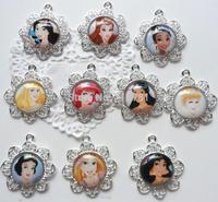chunky pendant sets princess ariel,cinderella,snow white,aurora... for girls/kids party favor charm character pendant 10pcs/lot