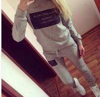 new arrival fashion sport suit women Long sleeved cotton top jacket +Pants sportswear brand hoody sets