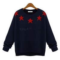 2014 new Women O-neck Five Point Star Sweater Knitted Wear Knitting Pullovers Long-sleeved Knitted Sweater Free shipping SV22