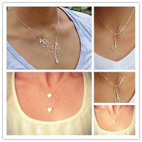 New Simple Elegance Women Silver Branch Leaves Charm Pendant Bib Necklace