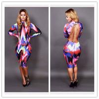 2014 New Fashion Women Spring Long Sleeve Knee Length Long Backless Bodycon Bandage Dress Vintage Printed Casual Dress -E32