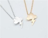 Gold Cloud Lightning Pendant Necklace, Silver Cloud Lightening Necklace Geometric