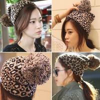 new 2014 leopard print winter hats for women beanie woman hat gorros de lana bonnet femme gorro mujer