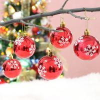 2014 New Christmas Decoration 6cm Snow Paint Ball Christmas Tree Ornament Pendant Balls
