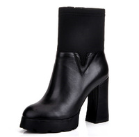 2014 autumn and winter genuine soft surfact leather thick heel female fashion martin boots high-heeled platform shoes wholesales