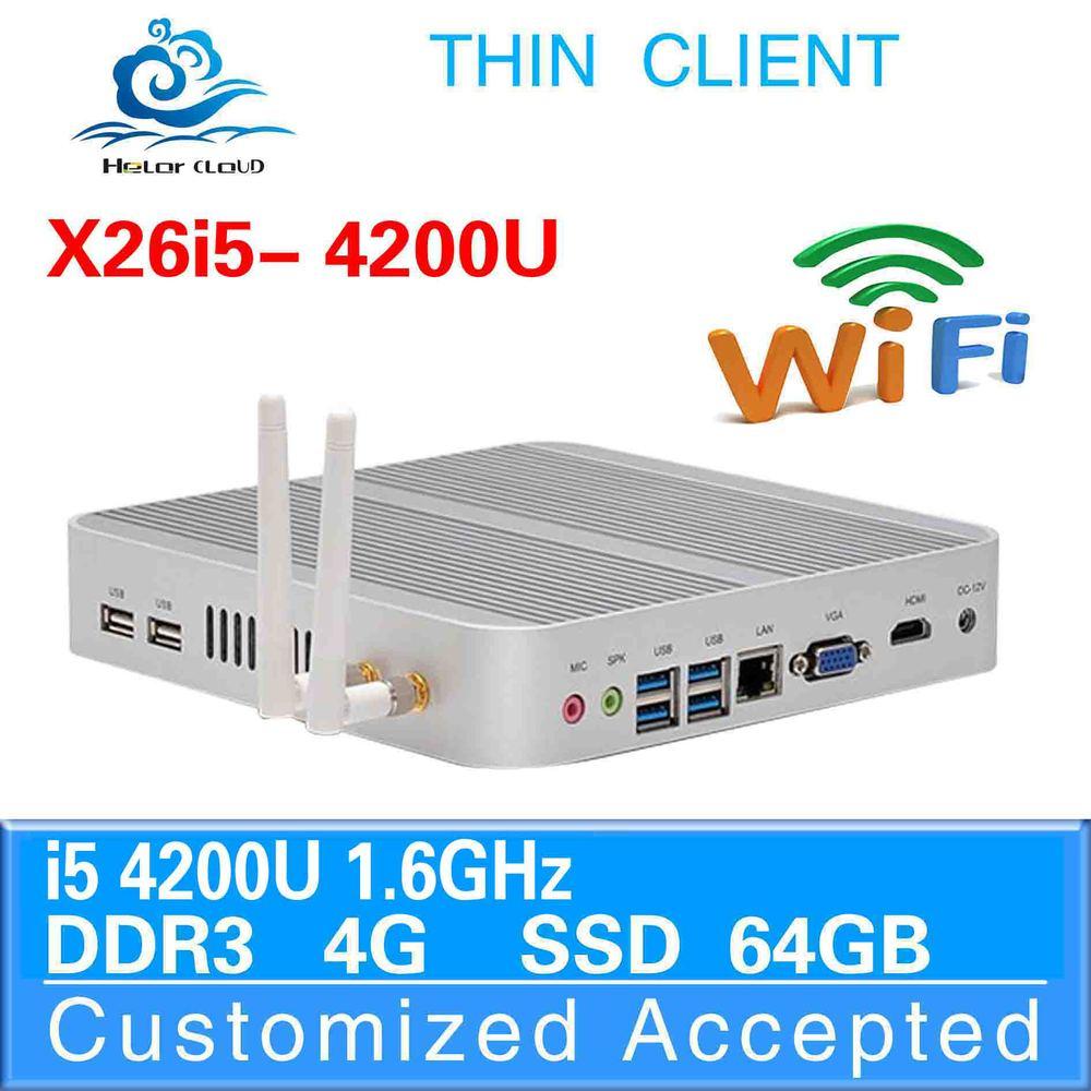 Ultar-low-power low heat mini computer x26-i5 mini business pc i5 4200u network 4g ram 64g ssd fanless mini pc thin client(China (Mainland))