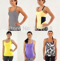 Wholesale&Retail Lulu Women's Brand Yoga Camis New Fashion Sexy with Bra Sports Tanks Lady's Gym Casual Active Tops Size:XXS-XL