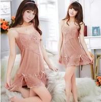 Sexy sleepwear V-neck female summer silk spaghetti strap transparent nightgown lace underwear the temptation to set