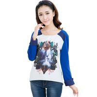 2014 Hitz women casual long-sleeved T-shirt loose stitching