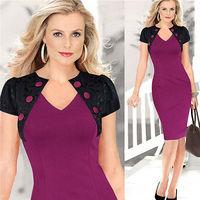 New Sexy Fashion elegant women Slim pencil bodycon dress Short-Sleeved v-neckline dress Evening party Dress Size S-XL