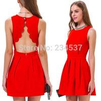 Fashion Women Backless Pleated Slim Bodycon Evening Party Mini Dress