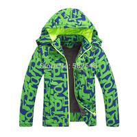 Retail 2014 Winter Children Outdoor Windbreaker jacket Boys Fashion Printed thick jacket Coat Kids Clothing Free Shipping 1 PCS