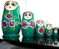 new arrive Beautiful Hand Painted 5Pc Green Matryoshka Babushka Russian Wooden Nesting Doll fashion jewelry