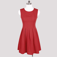 2014 new women's fashion summer dress round neck sleeveless dress princess pleated dress sexy party cocktail dresses