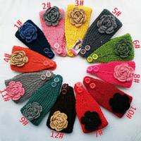 2014 New Multicolor candy colors Flower Women Knitted Headwrap Knitting wool crochet headband ear warmers for Girls Teens lady