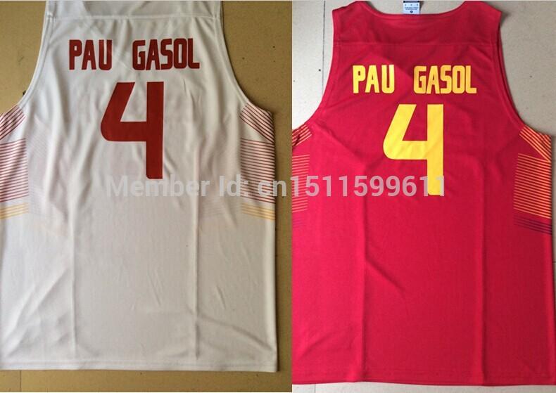 2014 Team Spain Basketball Jersey #4 Pau Gasol Espana Basketball Cemisetas for Spain Basketball World Cup(China (Mainland))