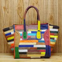 100% Genuine Leather Patchwork Smiley Women Leather handbag 2014 New multicolour portable cross-body Women Messenger Bags bolsas