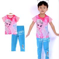 Wholesale 6 sets/lot for 2-7 years old  100% cotton kids pajamas short sleeve  sleepwear girls frozen pajamas X-554-10-22