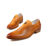 New 2014 Fashion British Style Men Shoes Retro Carved Genuine Leather Dress Flat Shoes