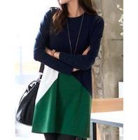 New autumn women dress spring fashion contrast color dress