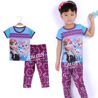 Wholesale 6 sets/lot for 2-7 years old  100% cotton kids pajamas short sleeve  sleepwear girls frozen pajamas X-556-10-22