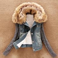Korean version Faux Fur collar cotton wool Long sleeve Winter denim jackets Women 2014New Women's Autumn Denim jacket coat
