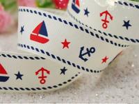 """25mm(1"""") 100 yards/lot sailing and anchor printed grosgrain lanyard ribbon"""