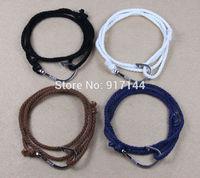 20PCS Black Navy Blue White Brown Silver Nautical Hook Triple Wrap Cotton Rope Handmade Adjustable Bracelets & Bangles Jewelry