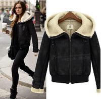 Winter Coat Jacket with Hooded Women Size S-XL Zipper 2014New Women's Warm Slim wool padded cashmere Short Black