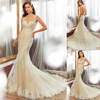 2015 New Fashion Sweetheart Tank Backless Long Mermaid Wedding Dresses With Appliques Beading Brides Dress For Weddings