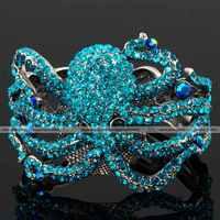 Bling vogue sapphire octopus marine crystal Rhinestone fashion charm jewelry hinged bracelet Bangle cuff silver plated