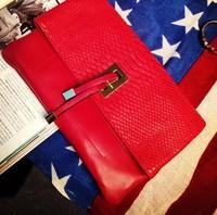 2014 for Crocodile stone pattern vintage fashion tassel folding day bag serpentine pattern clutch one shoulder small bag