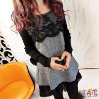 autumn and winter women loose lace woolen shirt one-piece dress mm woolen sweater plus size female