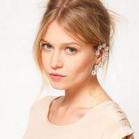 No Pierced Flower Ear Hanging Ear Clip Jewelry Brinco Bijoux Bride Rhinestone Crystal Earring Ear Cuff Pendientes For Women