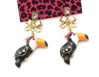 Wholesale Jewelry Fashion Rhinestone Enamel Woodpecker Drop Earrings Designer Women Pendientes Bijoux 7488